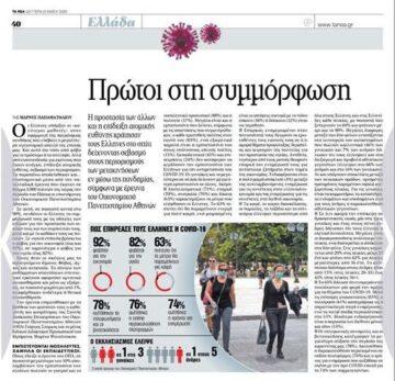 """Η έρευνα του εργαστηρίου """"Αγορά"""" για τον Covid-19 δημοσιεύτηκε και στην εφημερίδα «Τα Νέα»! 🙂👏"""
